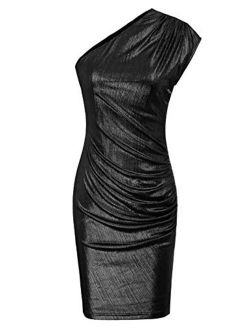 Womens Off Shoulder Ruched Bodycon Cocktail Dress Party Wedding