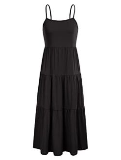 Womens Spaghetti Strap Tiered Long Maxi Dress Casual Loose Flowy Swing Sundress