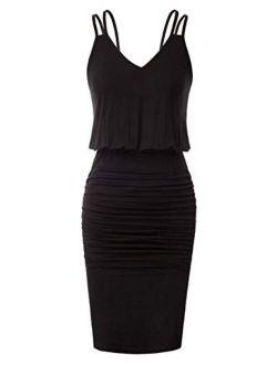 Women's Sleeveless V-neck Spaghetti Straps Tie Dye Casual Bodycon Dress