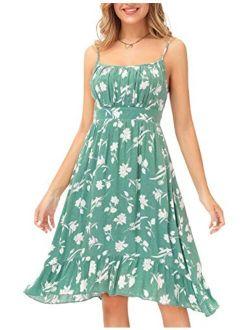 Women's Spaghetti Strap Floral Dress Ruffle Hem Pleated Casual Summer Dress Boho Flowy Midi Beach Dress