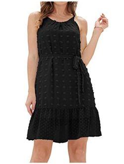Women's Summer Casual Spaghetti Strap Dress Tied Waist Swiss Dot A Line Flowy Mini Dress