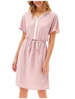 Women's Midi Dress Casual Summer Tunic Drawstring Dresses Short Batwing Sleeves With Pockets