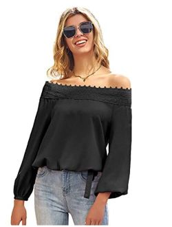 Women's Lantern Long Sleeve Lace Crochet Off The Shoulder Tops Loose Blouses Tops Shirt