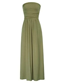 Women Strapless Casual Loose Ruched Long Maxi Dress With Pockets