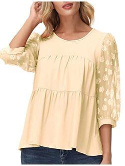 Women Mesh Sleeve Loose Babydoll T Shirt Flowy Blouse Tunic Tops