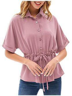 Women's V Neck Button Down Shirt Bat Roll-up Sleeve Drawstring Casual Work Blouses