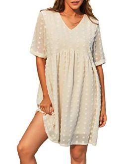 Women's Summer Mini Dress Casual Short Sleeve V Neck Swiss Dot Dress Flowy A Line Babydoll Short Dresses