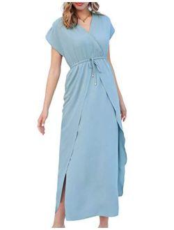 Women Summer Maxi Dress V-neck Elastic Waist Surplice Long Dress