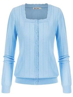 Women's Soft Knit Striped Cardigan Long Sleeve Square Neck Sweater