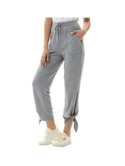 Women's Straight Leg Casaul Cropped Pants Drawstring Trousers With Pockets