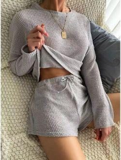 Waffle Knit Top & Shorts Lounge Set