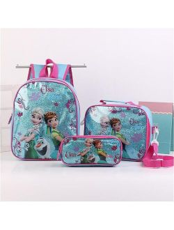 Rincess Disney Children Backpack Lunch Elsa Bag Pencil Cartoon Case Frozen Handbag Girl Boy Gift Bag For School Student