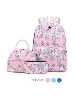 Unicorn Backpack Set for Girls Kids Teens School Bag Bookbag Travel Daypack with Lunch Tote Bag Pencil Case Purse Bag 3 in 1 Set