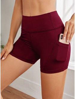 Wideband Waist Sports Shorts With Phone Pockets