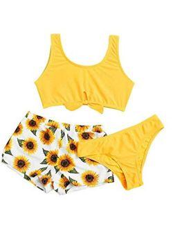 arttranson Girls Swimsuits 7-16 Bathing Suits Bikini Sets Teen Girls One Piece for Kids