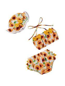 3Pcs Infant Baby Girls Swimsuit Sunflower Sleeveless Crop Top Ruffle Shorts Hat Summer Bikini Beachwear