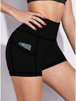 Wide Band Waist Sports Shorts With Phone Pocket
