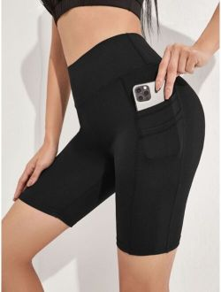 Solid Biker Shorts With Phone Pocket