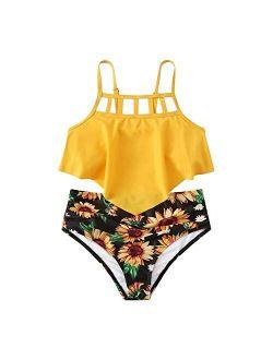 Toddler Kids Girls Sunflower Swimsuit Two Piece Bathing Suit Ruffled Flounce Top with High Waisted Bottom Bikini Set