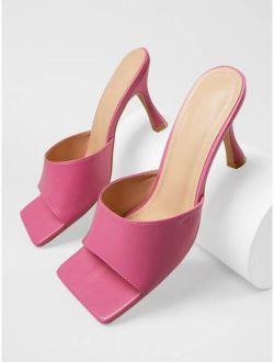 Faux Leather Open-Toe Low Stiletto Heels