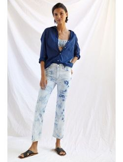 MOTHER The Insider Bleach-Dyed Crop Flare Jeans