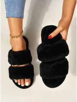 Two Band Fluffy Slippers