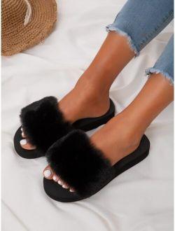 Open Toe Fluffy Slides