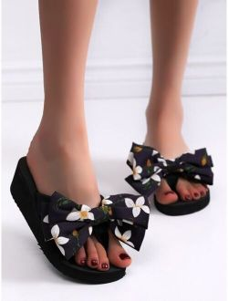 Bow Decor Flip Flops