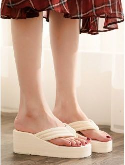 Toe Post Wedge Slippers