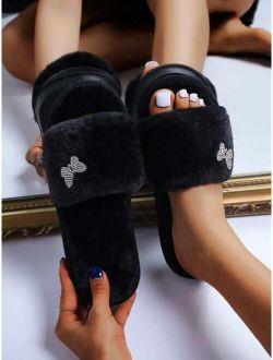 Rhinestone Decor Fluffy Slippers