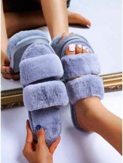 Fluffy Double Strap Slippers