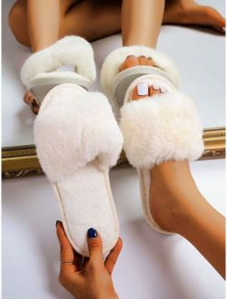 Minimalist Open Toe Fluffy Slippers