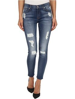 7 For All Mankind The Ankle Skinny w/ Destroy in Distressed Authentic Light 2