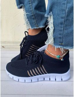 Lace-up Decor Knit Sneakers