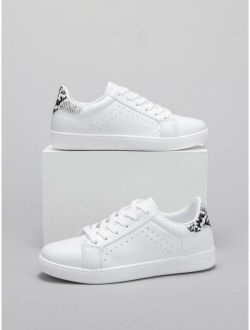 Lace-up Front Snakeskin Detail Skate Shoes