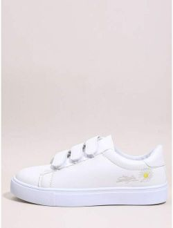 Daisy Embroidered Velcro Strap Skate Shoes