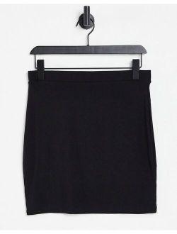 jersey pencil mini skirt in black