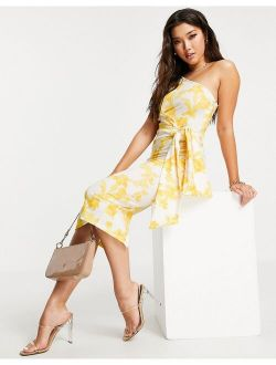 one shoulder belted midi pencil dress in yellow floral print