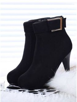 Suede Buckle Detail Heeled Boots