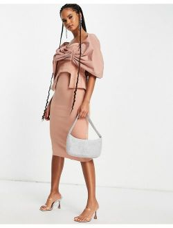 poplin overlay corseted pencil midi dress in camel
