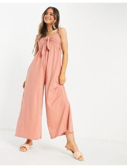 tie front swing jumpsuit in apricot