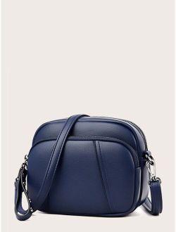 Minimalist Zip Front Crossbody Bag