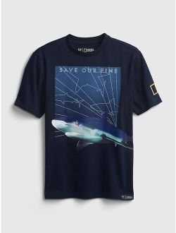 Kids | National Geographic 100% Organic Cotton Interactive Ocean Conservation T-shirt