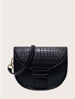 Minimalist Croc Embossed Saddle Bag