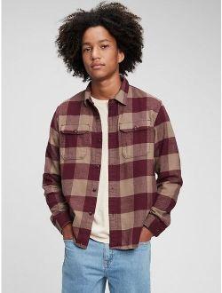 Teen 100% Organic Cotton Double Flap Pocket Flannel Shirt