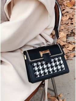 Contrast Binding Houndstooth Pattern Flap Square Bag