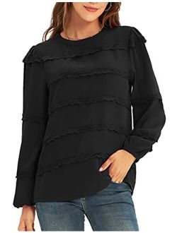 Women's Puff Sleeve Lace Trim Crew Neck Keyhole Casual Work Blouse Tops
