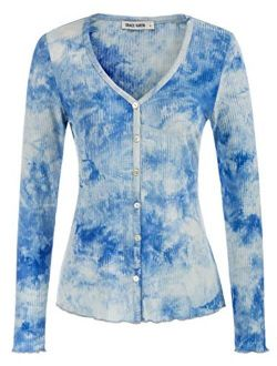 Women's Long Sleeve Button Down Knit Cardigan V Neck Tie Dye Cropped Shrug Sweater