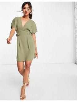 v front mini dress with elasticized tab in khaki