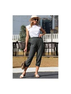 Women's Joggers Pants Capri Sweatpants Elastic Waist Cropped Workout Yoga Lounge Pants With Pockets
